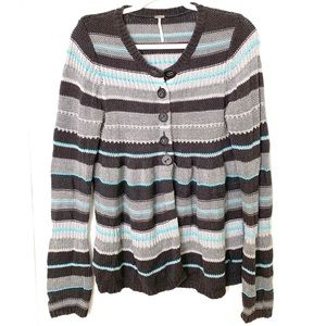 Free people knit half Button sweater size m